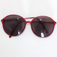 Vintage 1970s 80s Red Clear Rimmed Universal Univis Win Charlie 5 Prescription Sunglasses Retro Glasses Oval Oversized Frames Boho Hipster