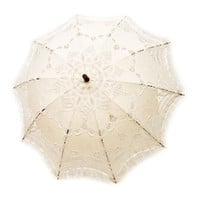 Cotton and Lace Parasol - White