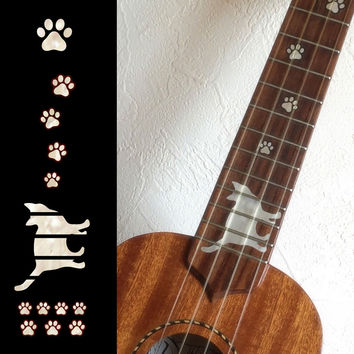 Ukulele Cat Foot Print / Cat Paws Fret Markers Inlay Stickers Decals