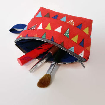 Flag Print Zippered Make Up Bag Pouch Clutch Wallet Pocket Book Small Size