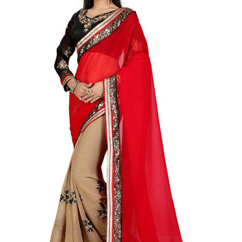 Red Velvet Party Wear Saree