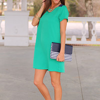 Short Story Shift Dress, Green