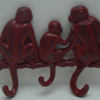 Monkey Red Cast Iron Three Hooks Wall Scarf Leash Hat Jewelry Hook 3 Hooks Shabby Chic Colonial Heritage Red Distressed Mom Dad Baby Monkies