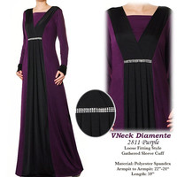2811 Pleated VNeck Diamente Islamic Robe Abaya Long Sleeves Maxi Dress - Plus Size 1X/2X Purple