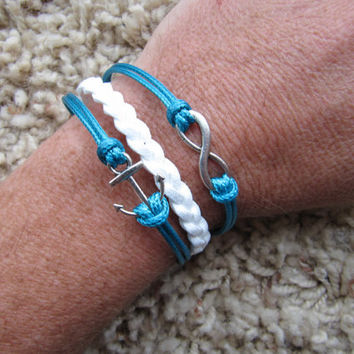USA Seller- Anchor and Infinity Turquoise Blue and White Friendship Charm Bracelet