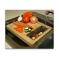 Trademark  Chromed steel and wood oversink kitchen cutting board