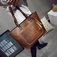 2016 PU Leather Tassel Women Handbags Designer Retro Bolsas Mujer Shopping Tote Lady Bags sac a main Fashion Shoulder Bags L1077