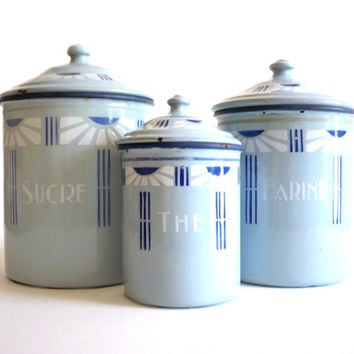 Set of 3 Antique Blue/Grey Enamelware French Canisters  - Art Deco