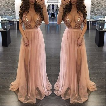 Rose Gold Long Dress Sequined Top Party Dress Women Sexy Perspective Deep V Neck Spaghetti Straps Evening Vestidos Female