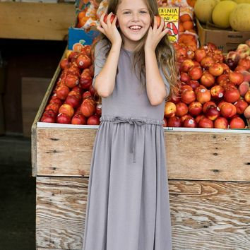 Teela Girls' Drawstring Grey Maxi Dress