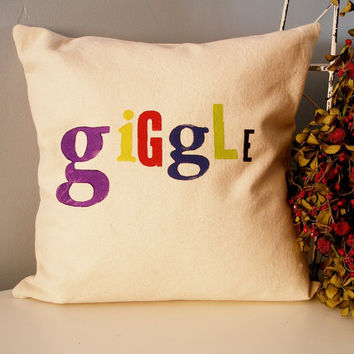 Hand Stamped Giggle Pillow Cover  multicolored by JoshuaByOak