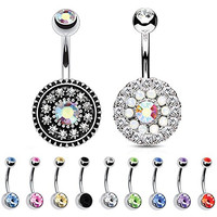 BodyJ4You® Belly Button Ring Shield Stainless Steel 14G Piercing Set 12 Pieces