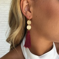 On Fire Fringe Earrings in Burgundy