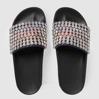 GUCCI Casual Fashion Women Fashion Sandals Crystal Slippers F