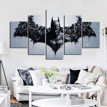 5Panel HD Print DC Comics Movie Deadpool Batman Oil Painting on Canvas Wall Art Modern Modular Wall Picture for Children'S Room