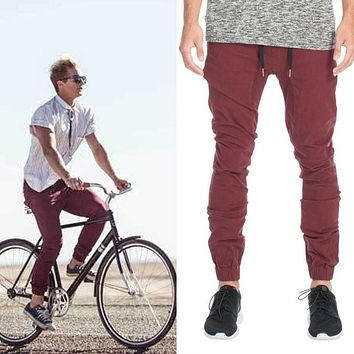 New Designer Mens Herostand Harem Joggers Sweatpants Elastic Cuff Drop Crotch Drawstring Biker Joggers Pants  Men maroon