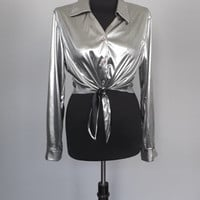 Vintage 90s Cropped Blouse Long Sleeve Silver Lame Slinky Metallic Shiny Shirt Size Medium Hipster Glam Grunge 70's Diva Disco Punk Rocker