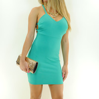 (ant) Strappy racer open back green dress