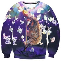 Pole Dancing Sloth Surrounded by Dollar Bills Print Sweatshirt Sweater | Gifts for Animal Lovers