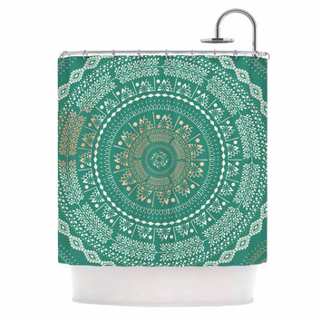 "Famenxt ""Mint Medallion"" Mint Pattern Shower Curtain"