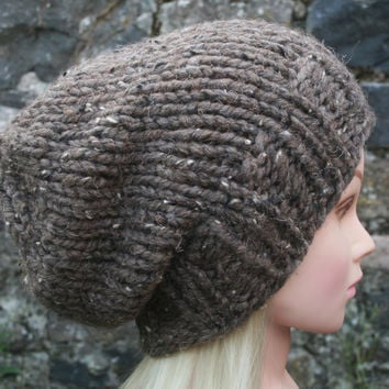 Hand Knit Hat Women's Hat- brown tweed- rustic mega chunky hat with wool- slouchy-beanie hat