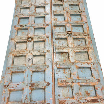 Blue Distressed Antique Tarnished Iron Nailed Hand Carved Doors Teak Wood Double Door Old Jodhpur Decor FREE SHIP CONSCIOUS Design