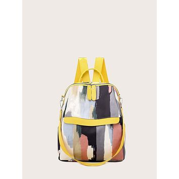 Graffiti Pattern Zip Up Backpack