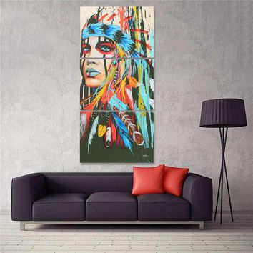 New 3 Pc Set Indian Woman Abstract Decorative Feather Art Canvas Print Wall Painting