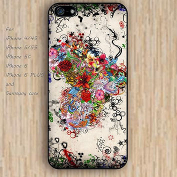 iPhone 5s 6 case colorful flowers Love Heart phone case iphone case,ipod case,samsung galaxy case available plastic rubber case waterproof B396