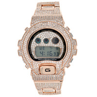 Iced Out Bezel Band Wristwatch GShock DW6900 Rose Gold Tone