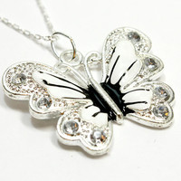 White Enamel Butterfly Pendant on Silver Chain. Insect Jewelry with Chain. Butterfly Necklace for Insect Lover. White Butterly Jewelry