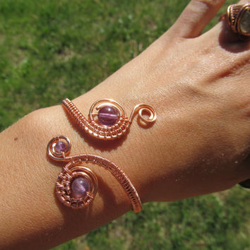 Amethyst Double Spiral Copper Wire Bracelet, Natural Purple Gemstone Wire Wrapped Cuff Bracelet, Handmade Wedding Jewelry