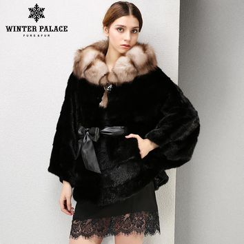 Best seller of natural mink coats Black mink fur coat-model bat with Hood of fur fox fur Style-stole with fur silver fox hat