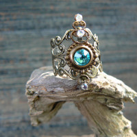 midi ring Swarovski Turquoise glass chaton armor ring knuckle ring nail ring claw ring vampire goth victorian moon goddess pagan boho gypsy