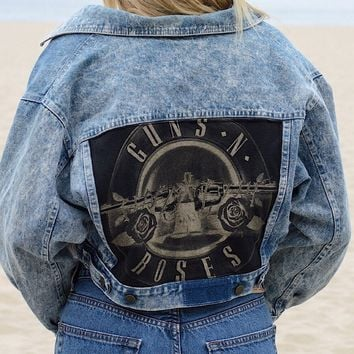 Vintage Crop Denim Guns N Roses Jacket
