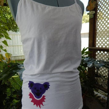 Upcycled Recycled Grateful Dead Dancing Bear Tank Top Size XL, ooak shirt,  top, Shirt upcycled clothes, T-shirt