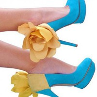 Yellow Suade Heel