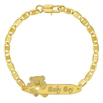18k Gold Plated Tag ID Identification Bracelet for Baby Boy or Toddler 5.5""
