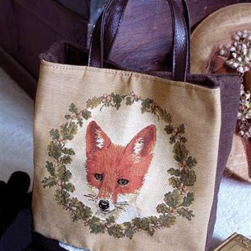 Portrait Of A Fox Tapestry Handbag | Fox Tote