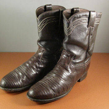 Justin Ropers Snakeskin Lizzard Western Boots // Adult Mens 9 1/2 // Brown // from successionary
