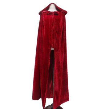 Burgundy Halloween Wrap With Hood Wedding Cloak Bridal Coat Long Winter Velvet Bolero Women