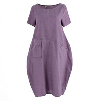 Women Casual Cotton Linen Long Dress Ethnic Short Sleeve Loose Dress SM6