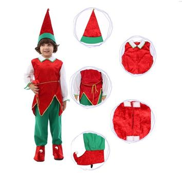 Halloween Kids Costume Party Kid Cosplay Dress Red Christmas Elf Clothes Children Christmas Costume