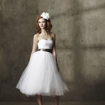 White Tea Length Tulle Party Dress A Whimsical Spring by ouma