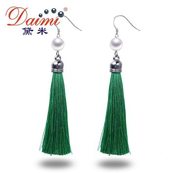 DAIMI Silver Earrings Long Tassles Drop Earrings 9-10MM White Pearl Earrings 6 Colors Green/Orange/Fuchsia/Grey/Brown/Blue