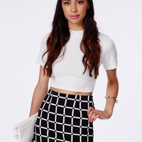 Missguided - Dominika Monochrome Checked A-Line Mini Skirt