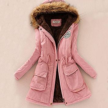 Women New Arrival Hooded Cotton-Padded Jacket Winter Adjustable Waist Cotton Coat Thick Wadded Jacket Slim Fit Lady Coats 62468