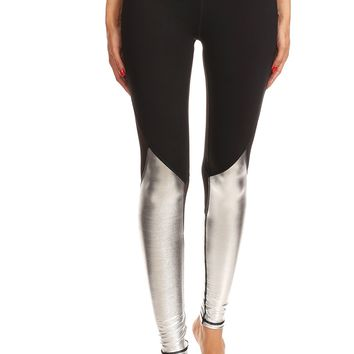 Rhythmic Tight Black x Metallic Silver with Glitter Mesh Legging