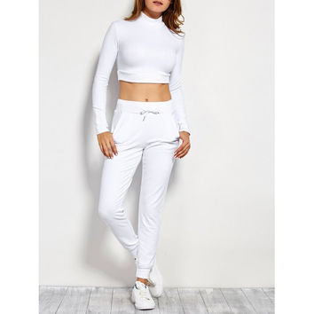 Long Sleeve Crop Top and Drawstring Pants
