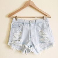Azelia High Waisted Light Denim Shorts